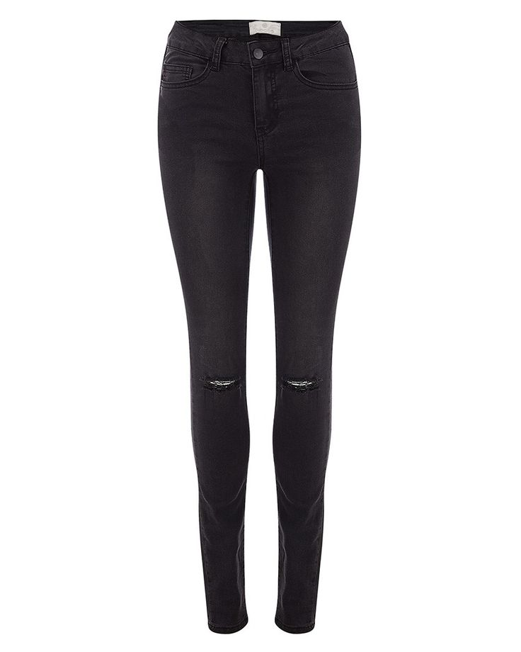 Pieces Distressed Skinny Black Jeans - Atterley Road