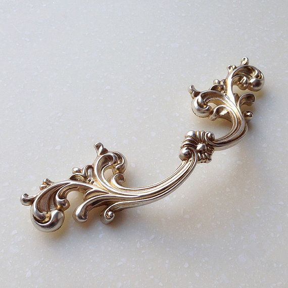 French Style Shabby Chic Dresser Drawer Pulls Handles Antique Silver Kitchen Cabinet Pull Handle