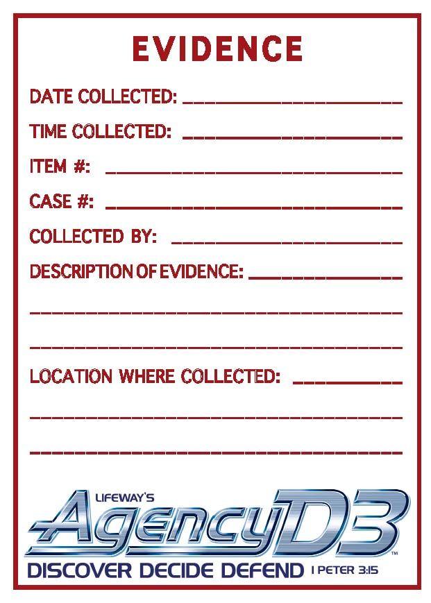 Evidence Sticker - 8 1/2 x 11