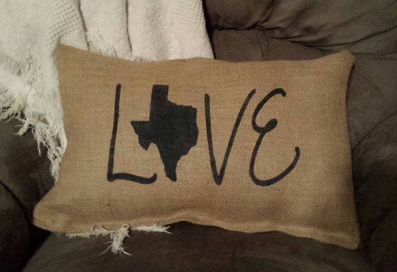 Texas Love Shabby Chic Burlap Pillow Texas Pride by GritNGrace, $20.00
