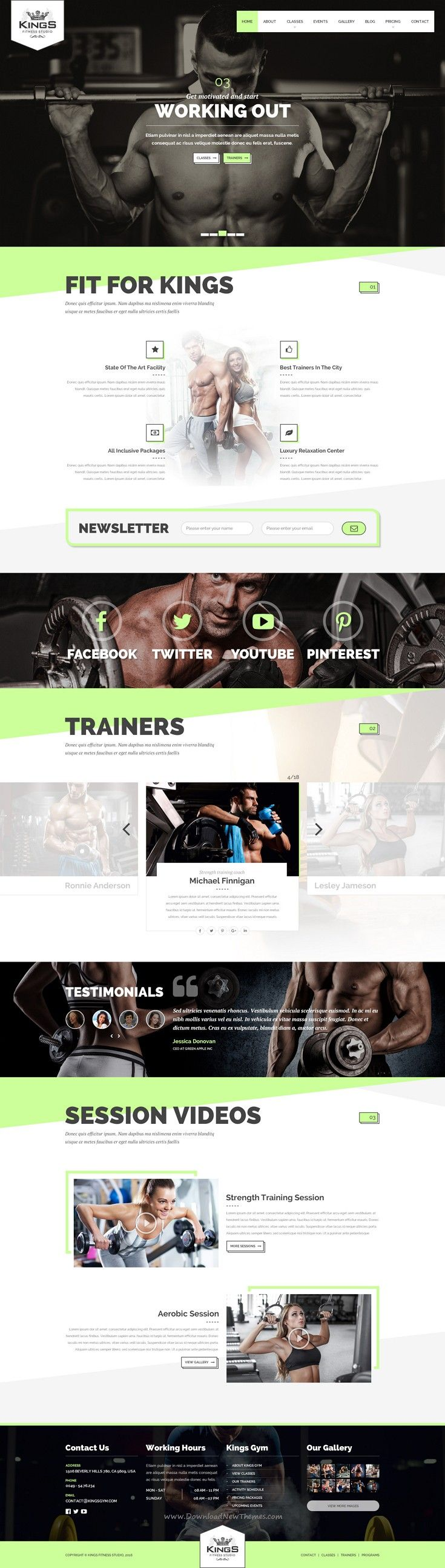 Kings Gym Fitness #PSD Template is the perfect solution for gyms and #fitness studios #website. Download Now!
