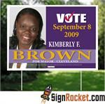Ready to go all out? Then Full Color Political Yard Signs sound right for you!  Stand alone from the rest with unlimited colors.  Perfect for smaller quantities and when you feel 2 color political yard signs just are not going to be enough!