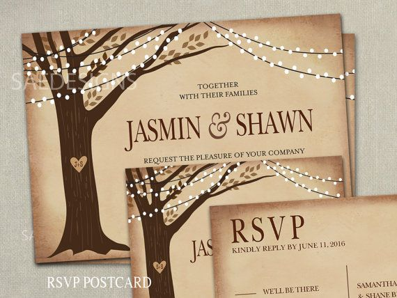 items similar to fall tree wedding invitations invites elopement rsvp cards postcards autumn fall branch country farm winery ranch burlap mason lights lace - Cheap Wedding Invitations Sets
