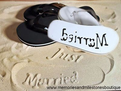 Just Married Flip Flops Beach Wedding Honeymoon Bride Groom New Never Worn