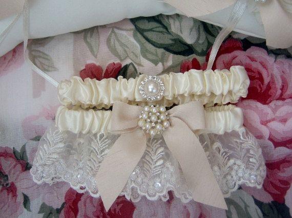 Classic Wedding Garter Set Toss By Nanarosedesigns