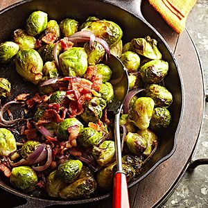 A couple slices of bacon offer enough drippings to flavor a family-sized batch of brussels sprouts in this skillet-made side dish.