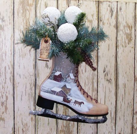 Winter Ice Skate Home Decor Saltbox Horse Sleigh Primitive Folk Art Wwhofg And Primitives