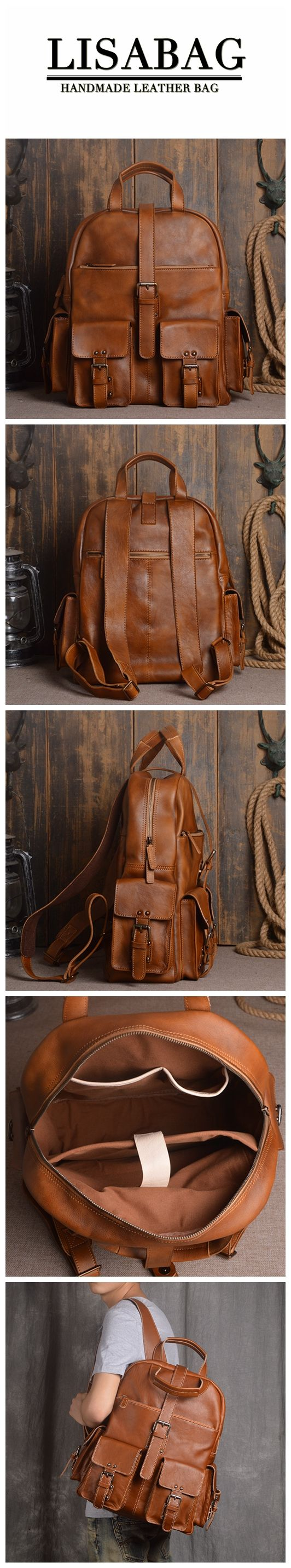 Handmade Vegetable Tanned Leather School Backpack Casual Travel Backpack Laptop Bag 9045