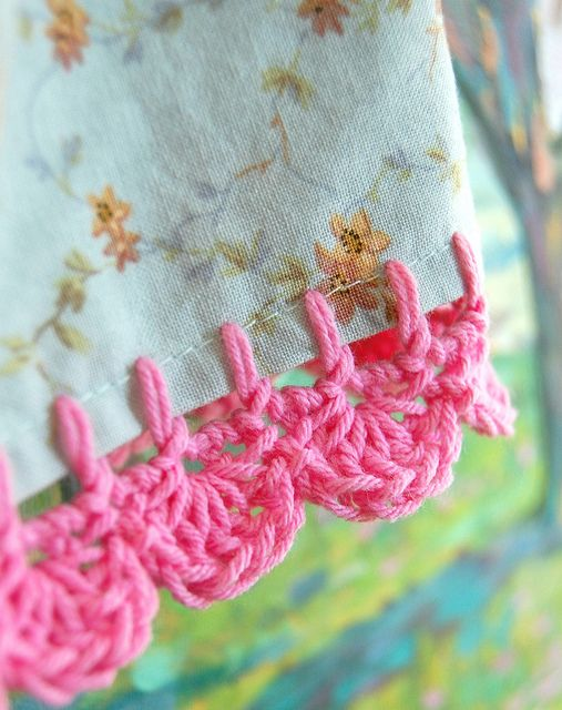 Crochet edging looks so adorable on printed fabric.