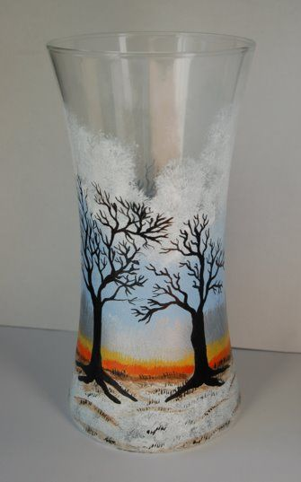 94 Best Painted Glass Vases Images On Pinterest Glass Painting