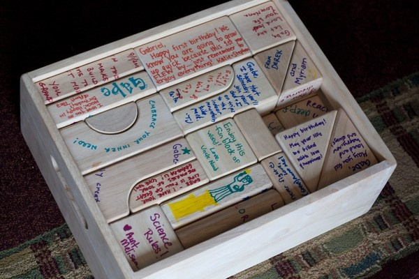 """First birthday wooden blocks guest""""book"""".  I could see using this for other occasions as well"""