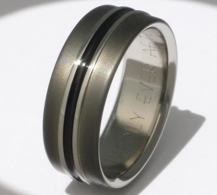 Black Titanium Wedding Band or Promise Ring - bk19 shown 8mm wide. $249.00, via Etsy.