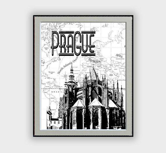 "City Poster Painting Prague with world map background black and white ""Prague-Czechoslovakia""  Digital Art Home Decor Travel Touristic"