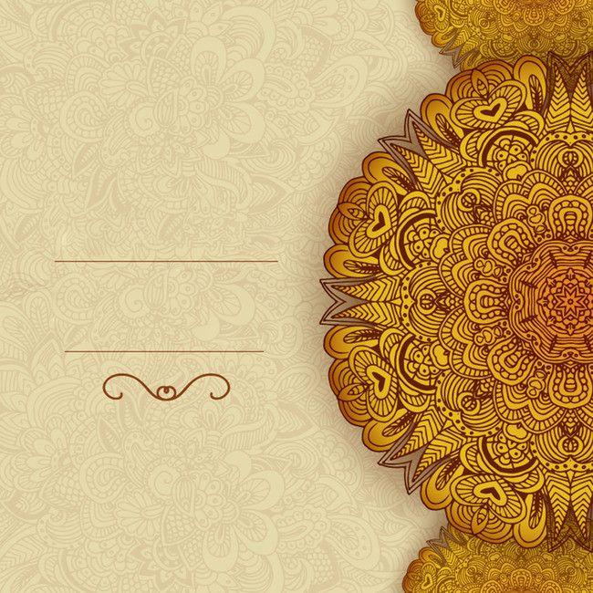Gold Pattern Disk Card Design Vector Background Material Wedding