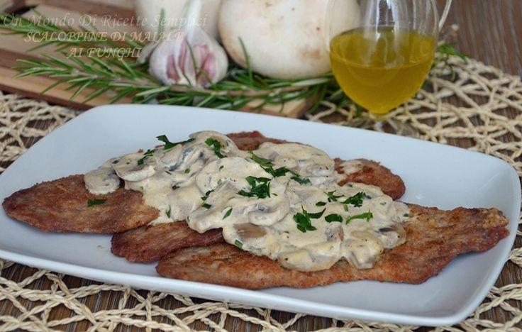 Le scaloppine di maiale ai funghi. Panna vegetale