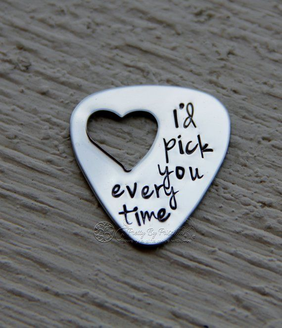 "Husband Gift for him-Unique Gift for Boyfriend/Husband -Hand Stamped Guitar Pick ""I'd pick you every"