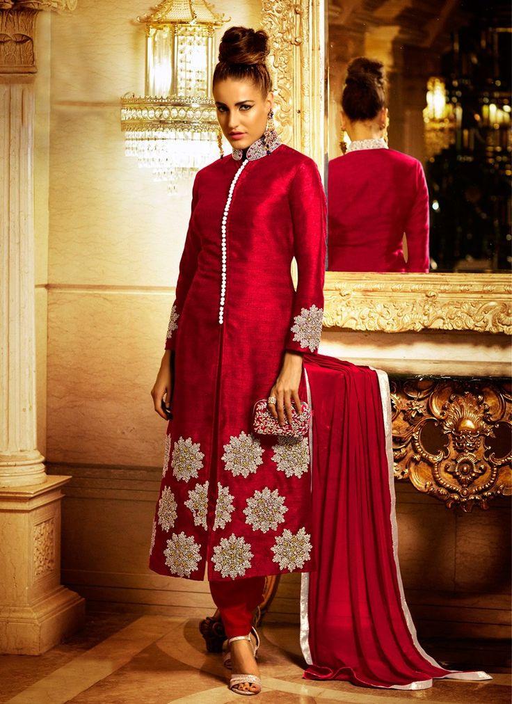 Red Bhagalpuri Silk Diamond Worked Salwar Suit #SalwarSuits #snapdeal #India