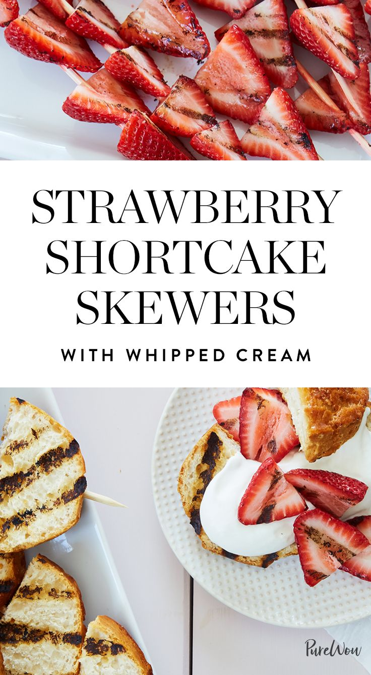 Strawberry Shortcake Skewers with Whipped Cream via @PureWow