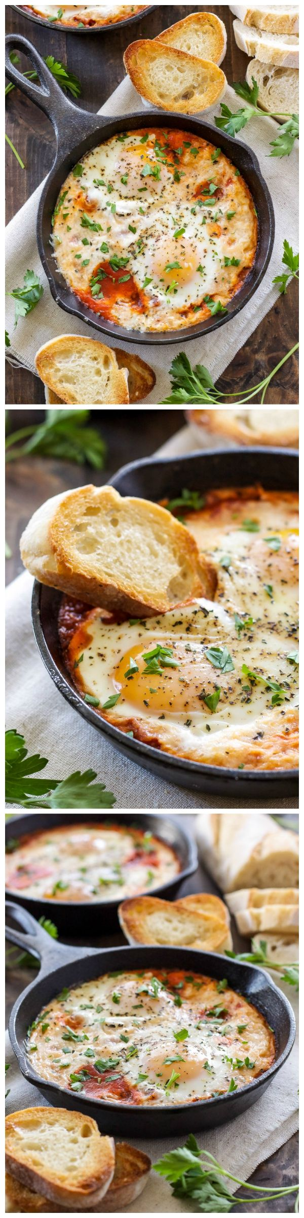 Three ingredients are all you need to make these Italian inspired Baked Eggs in Marinara Sauce!