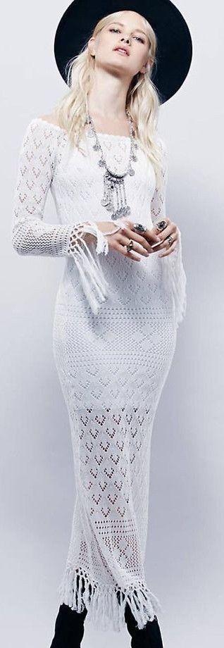White Crochet Maxi dress                                                                             Source