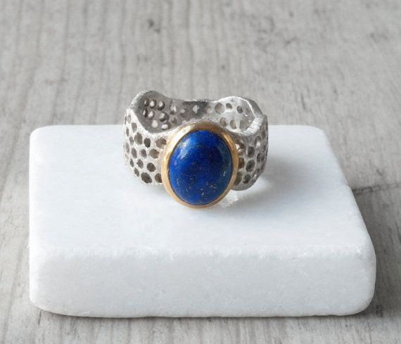 Lapis Lazuli Ring Sterling Silver Wide Band Blue by SunSanJewelry