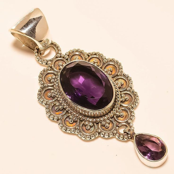 "AFRICAN AMETHYST ETHNIC STYLE 925 STERLING SILVER PENDANT 2.44"" in Jewellery & Watches, Fine Jewellery, Fine Necklaces & Pendants 