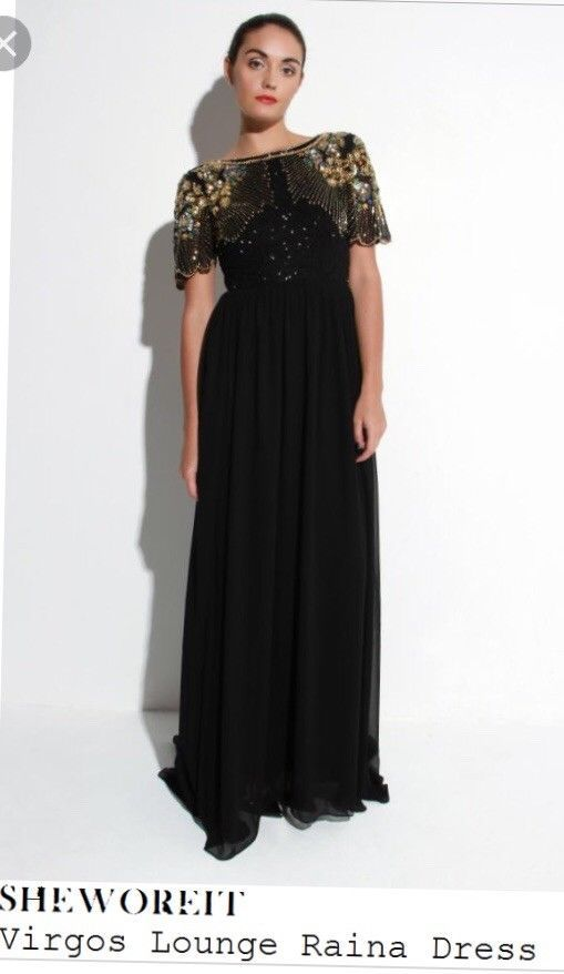 Virgos lounge Raina Black Embellished Maxi Dress Gown 10