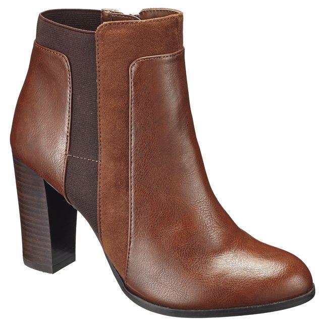 boty, levné boty, dámské boty, obuv, hnědé boty, kotníkové boty, levná obuv, boty na podpatku : F&F