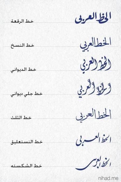 تعلم كيف تبدو بعض الخطوط العربية واسماءها ..