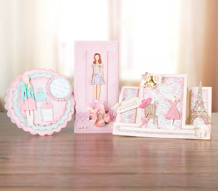 Gorgeous pink #card samples from the #TatteredLace George and Bella Wardrobe Multibuy! Availablel to buy tonight at 9PM on Ideal World! - http://www.idealworld.tv/ShowGridView.aspx?showId=2500323 #cardmaking #papercraft #greetingcard