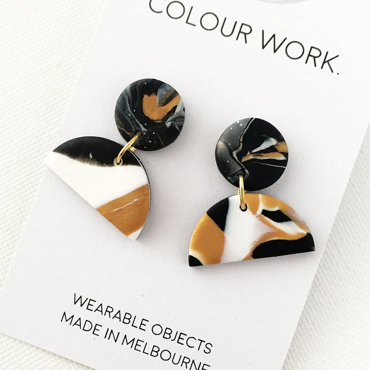 Statement Earrings - Black, gold and white granite (polymer clay) by colourwork on Etsy