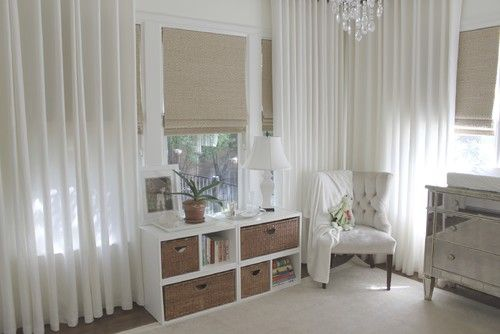Neutral and not boring - nice. (Although, that's a lot of floor-length drapery for a kid's room)