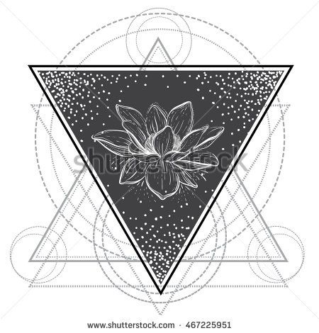 Lotus flower . Sacred geometry. Blackwork tattoo flash. Vector illustration isolated on white. Print, posters, tattoo design, t-shirts and textiles.