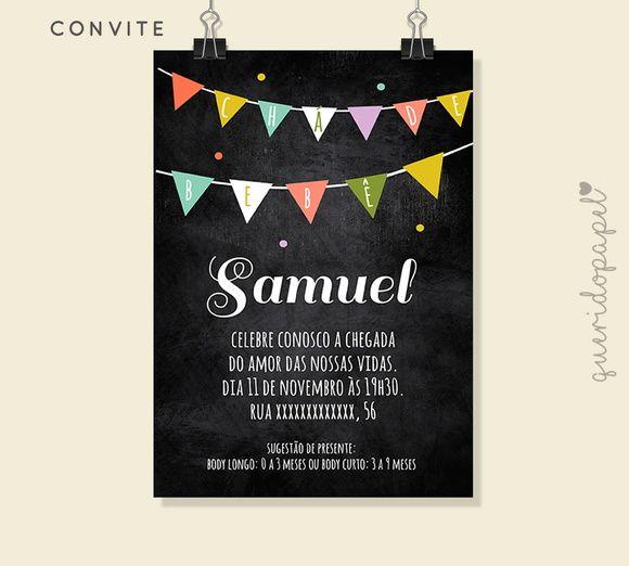 Convite para chá de bebê quadro negro, Convite quadro negro, convite bandeirinhas, convite digital