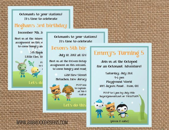 OCTONAUT Invitation - (Multiple Styles Available) Full Service Printing & Coordinating Items Available