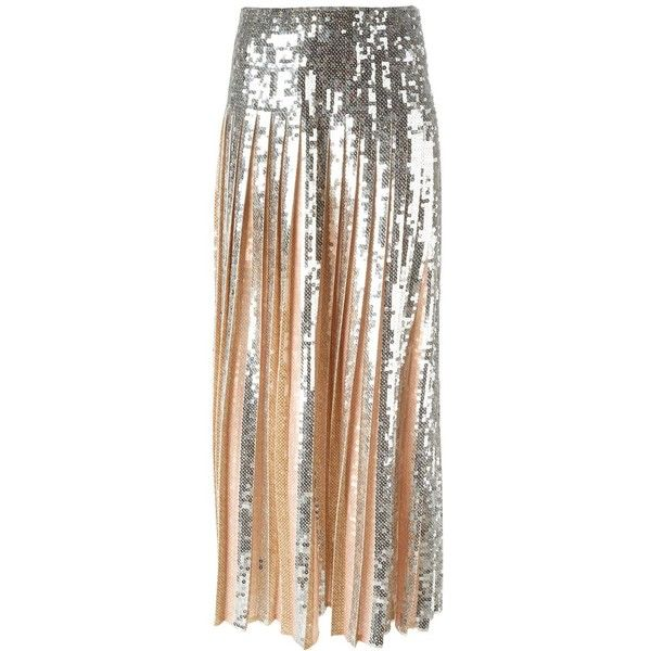 Emilio Pucci Pleated Sequin Long Skirt (£1,730) ❤ liked on Polyvore featuring skirts, metallic, floor length skirt, long sequin skirt, ankle length skirt, floor length sequin skirt and pleated maxi skirt
