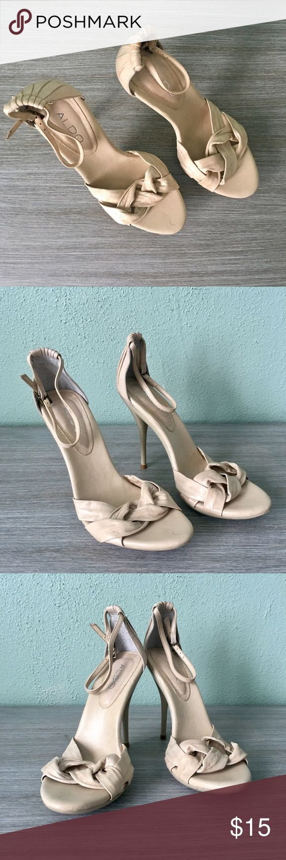 Aldo Nude Strappy High Heel Sandals Worn once in excellent condition (as pictured). Aldo Nude strappy high heeled sandals. Great summer basic. Versatile color goes with everything. True to size. Aldo Shoes Heels