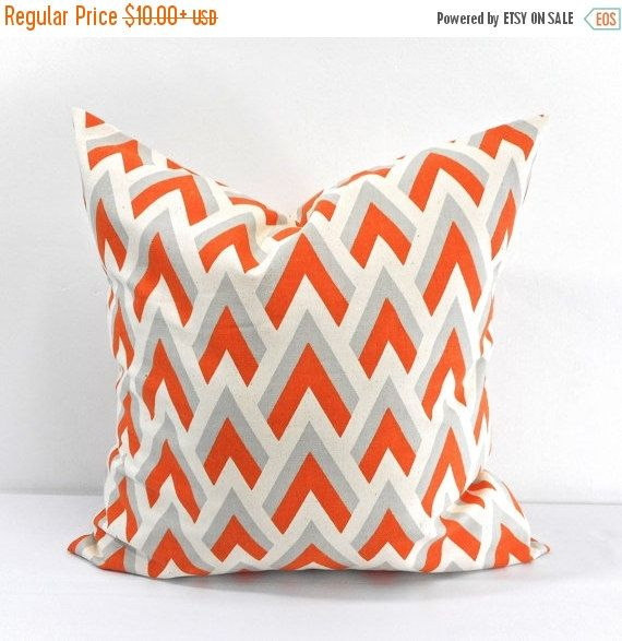 PILLOW SALE Zapp Mandarin/Natural Pillow by TwistedBobbinDesigns