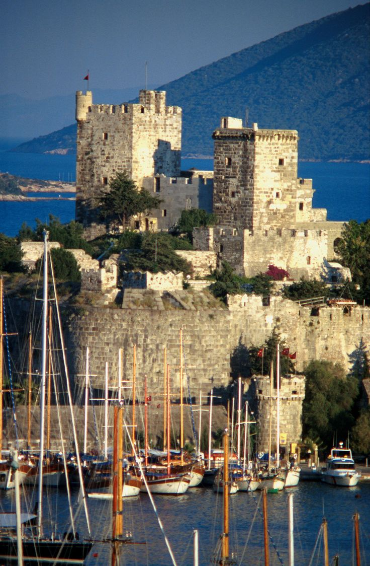 Crusader castle in Bodrum harbor, Turkey/ views are stunning. squared green volcanic stone, marble columns is used for building .