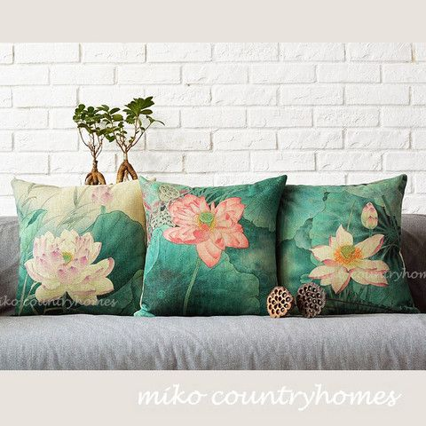 Chinoiserie Lotus Flower Linen Throw Pillow Cover Home, Throw pillows and Burlap