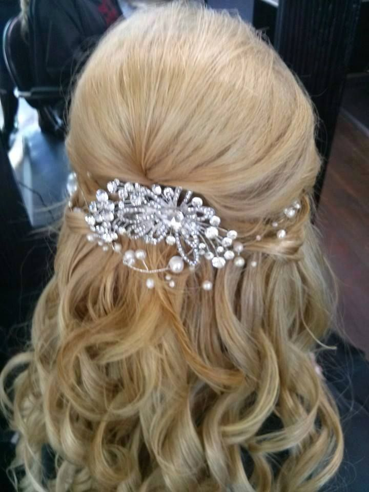 Wedding Hair-Half Up Half Down. Sliver plated wire with ...