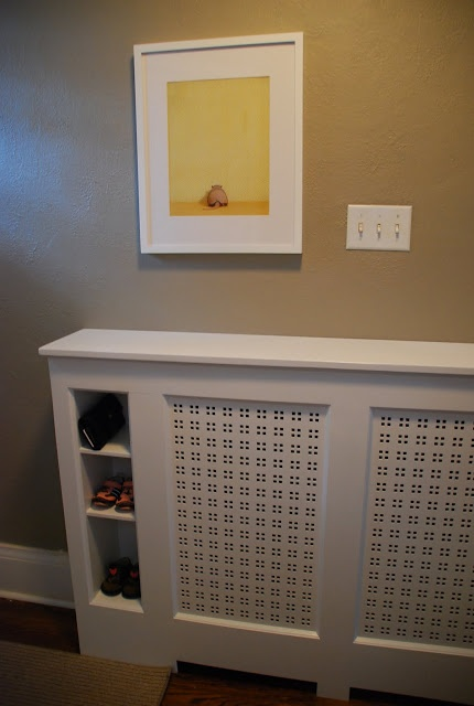 Radiator cover with built-in shoe storage
