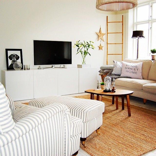 salon estilo nordico, mueble TV blanco, ideas deco
