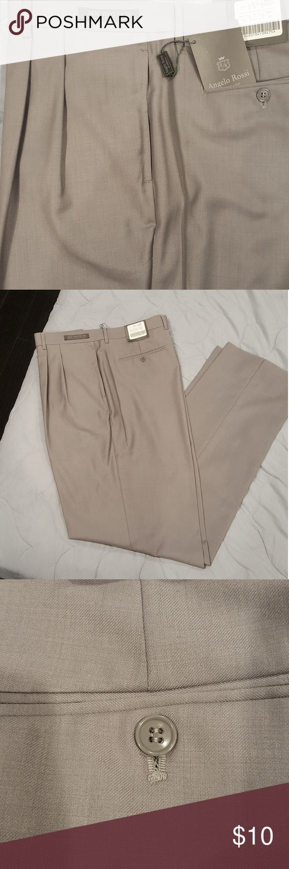 Mens Silver Dress Pants NEW W/ TAGS. Angelo Rossi Mens Dress Pants. COLOR: Silver. Waist 42 Inseam Open, with pleads. 65 % Polyester 35 % Rayon. Pants Dress