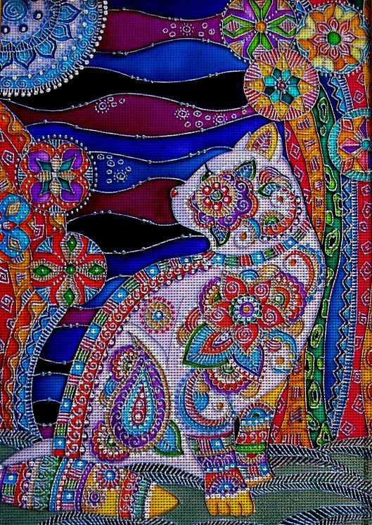 Needlepoint canvas 'Moon cat' by Irina Vasileva