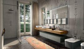 Collezione Enea by Edoné Design - 7 - Design minimale in vetro e resina // spessore mensola e mobile sotto , specchio orizzontale