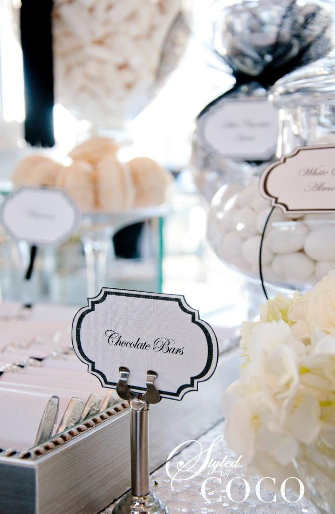 Chanel inspired wedding dessert buffet.