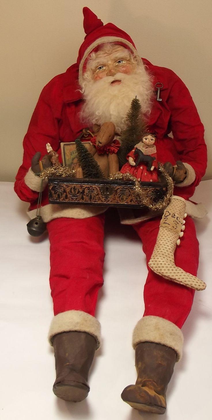 Handmade Large Sitting Santa Claus Amp Antique Box Filled