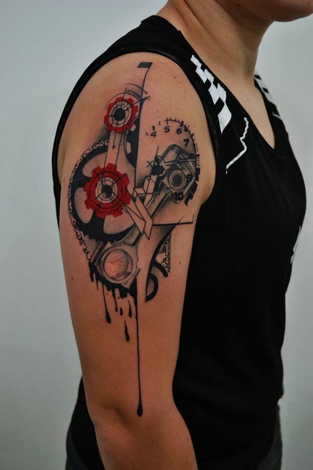 mechanical heart tattoo..like the red and black