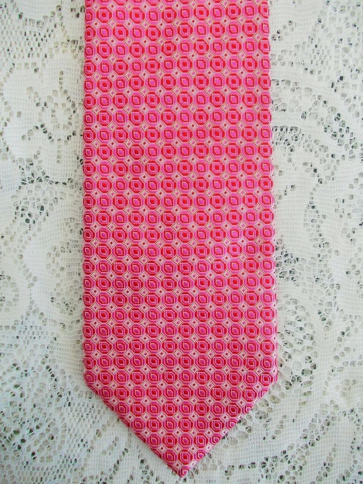 Pure Silk Twill Men's Tie, Hardy Amies, Strawberry Pink Abstract, Made in Germany
